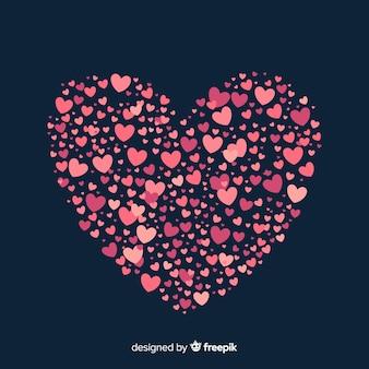Heart made of tiny hearts background