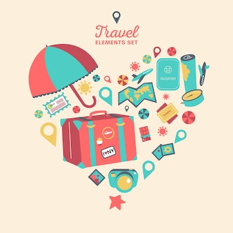 Heart made of travel elements
