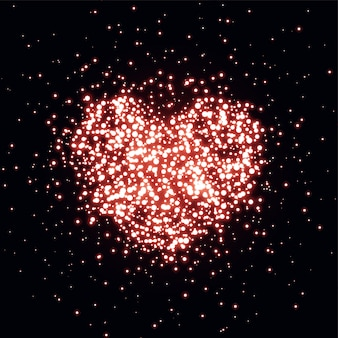Heart made with sparkle background