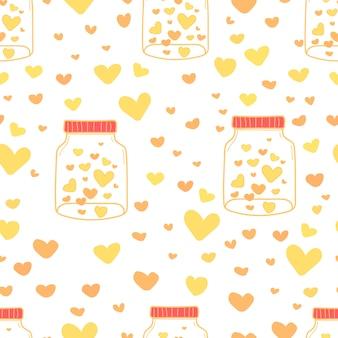 Heart in mason jars pattern background.