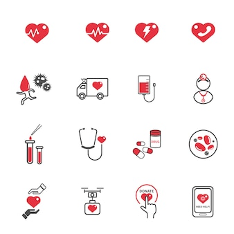 Heart medical care icons