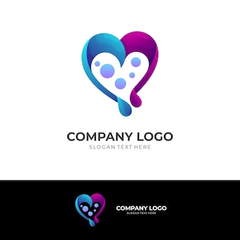 Heart and melody logo concept with 3d blue and purple color style