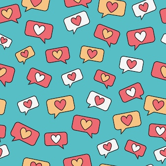 Heart message doodle seamless pattern