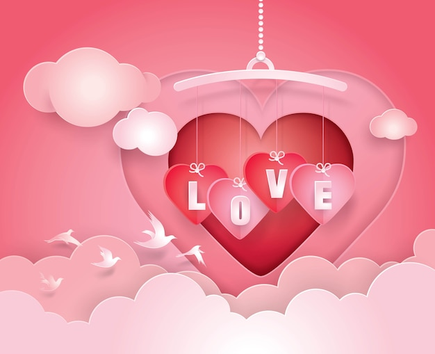 Heart mobile and love hanging in sky with clound paper art