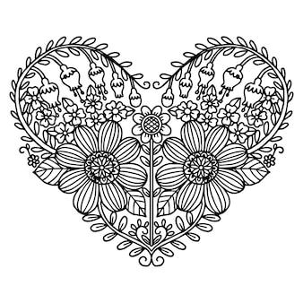 Сердце мотив цветка богато украшенные от руки стиль.