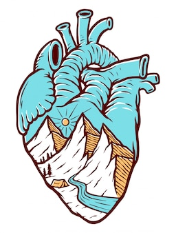Heart & mountain illustration
