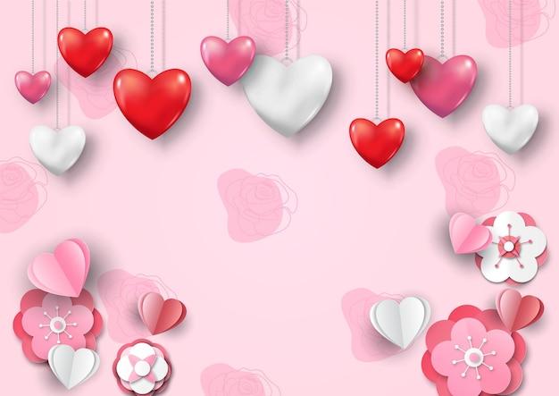 光沢のあるスタイルのハートネックレスは、ハッピーバレンタインデーの手紙と紙カットスタイルの桜の花でピンクの背景に掛かっています