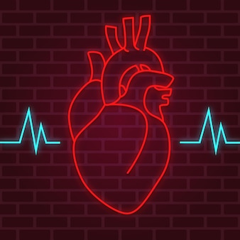 Heart neon effect with heartbeat wave on the brick wall