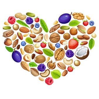 Heart of nuts and garden berries.