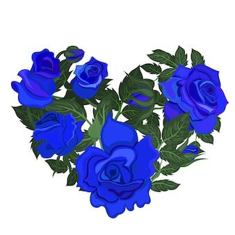 Сердце из голубых роз изолированные