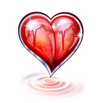 Сердце из стекла и рябь на белом