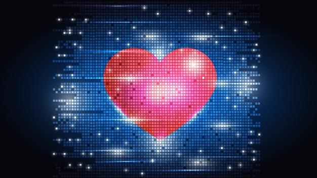 Сердце на фоне электронных пикселей