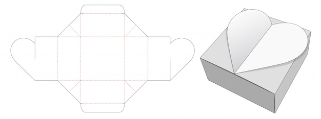 Heart packaging box die cut template