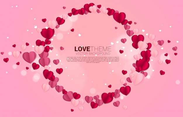 Heart paper art flying circle frame graphic background concept. valentine's day and love theme