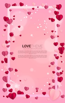 Heart paper art flying square frame concept. valentine's day and love theme and poster