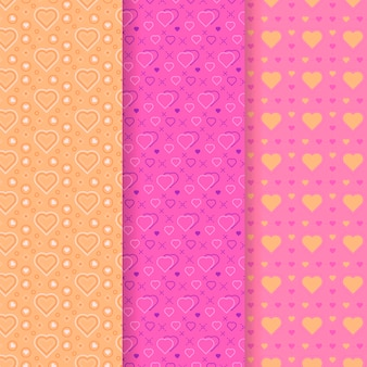 Heart pattern collection in flat design
