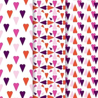 평면 디자인의 하트 패턴 컬렉션
