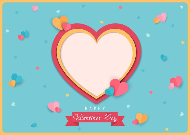 Heart pattern design to paper art style for valentine's day