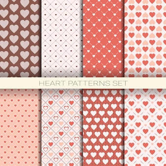 Heart patterns set retro seamless backgrounds for valentine day
