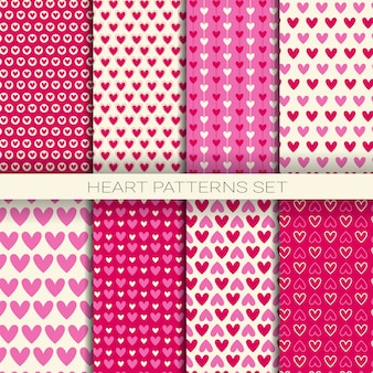 Heart patterns set seamless backgrounds for valentine day