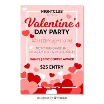 Heart pile valentine party poster