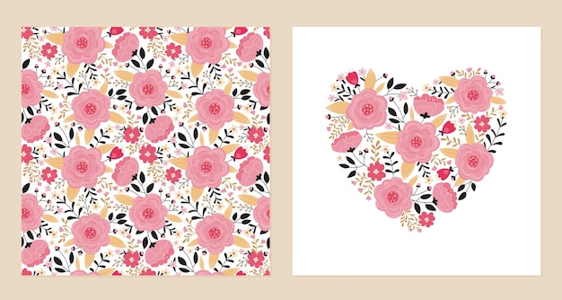 Heart of pink flowers and leaves and seamless pattern.