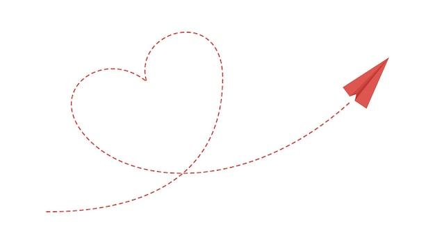심장 비행기 경로입니다. 사랑 우정 개념, 종이 비행기 비행. 고립된 빨간 항공기는 벡터 삽화를 이륙합니다. 비행기, 항공 하트 라인 비행 경로