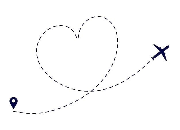 Маршрут сердечного самолета. путь самолета любви. самолет летит по назначению. прекрасное романтическое путешествие для медового месяца. пунктирный путь полета