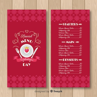 Heart on plate valentine menu template