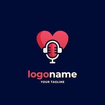 出会い系アプリやロマンチックな音楽ビジネス会社のためのハートポッドキャストロゴシンプルなスタイル