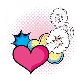 Heart pop art style