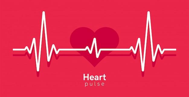 心臓パルス。ハートビートライン、心電図。赤と白の色。美しい医療、医療の背景。モダンなシンプルなデザイン。アイコン。サインまたはロゴ。フラットスタイルの図。