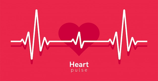 Heart pulse. heartbeat line, cardiogram. red and white colors. beautiful healthcare, medical background. modern simple design. icon. sign or logo. flat style  illustration.