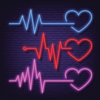 Heart pulse rate neon icon set