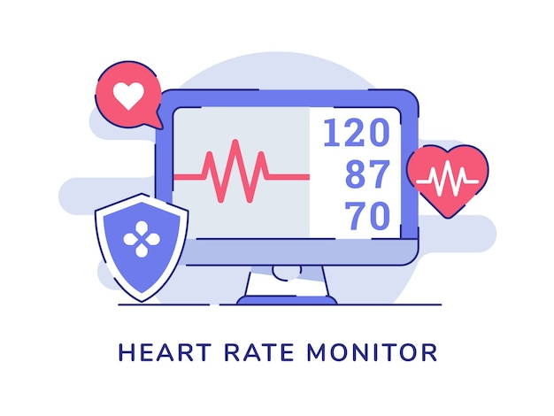 Heart rate monitor on display computer monitor