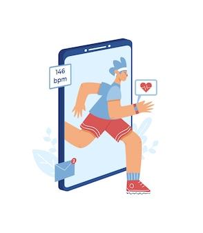 Концепция приложения для мониторинга сердечного ритма. мальчик с умными часами на руке бежит против огромного смартфона.
