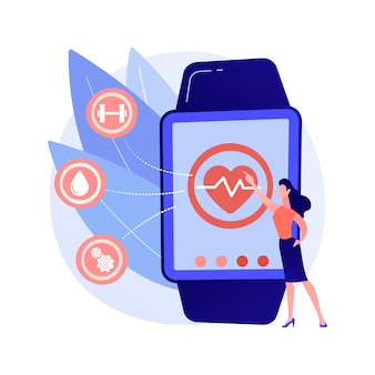 Heart rate on smartwatch. portable pulse tracker. wrist clock, watch with touchscreen, healthcare app. fitness assistant. gadget for workout. vector isolated concept metaphor illustration.
