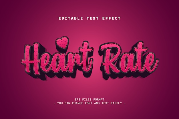 Heart rate text effect, editable text