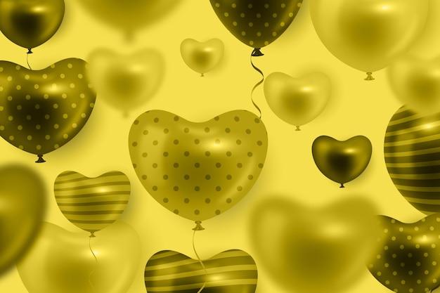 Heart realistic balloon on yellow background