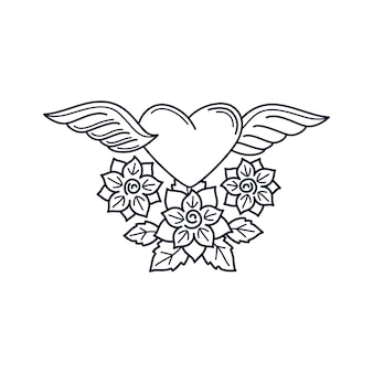 Heart and roses line tattoo element
