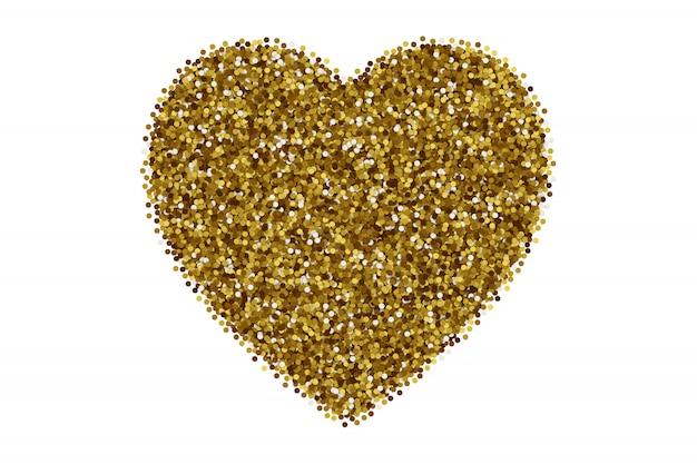 Сердце разбросаны золотые конфетти на белом фоне