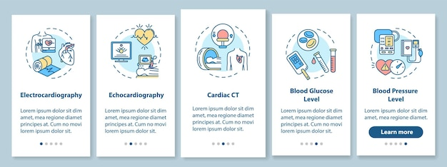Heart screening onboarding mobile app page screen with concepts. glucose level blood testing walkthrough 5 steps graphic instructions. ui vector template with rgb color illustrations