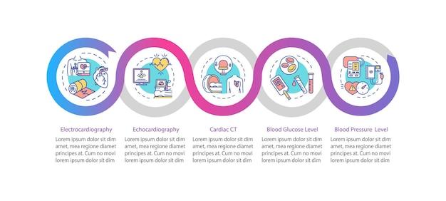 심장 검사 벡터 infographic 템플릿입니다. 심혈관 질환 진단 프레젠테이션 디자인 요소입니다. 5단계로 데이터 시각화. 프로세스 타임라인 차트. 선형 아이콘이 있는 워크플로 레이아웃
