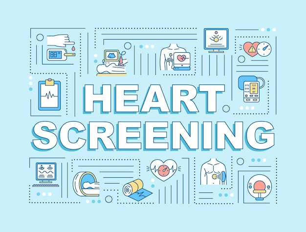 Heart screening word concepts banner. medical check up. cardiac disease prevention. infographics with linear icons on light blue background. isolated typography. vector outline rgb color illustration