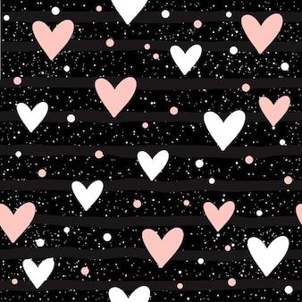 ハートのシームレスな背景。デザインtシャツ、ウェディングカード、ブライダル招待状、バレンタインデーのポスター、パンフレット、アルバム、テキスタイルファブリック、衣服、スクラップブックなどの抽象的な幼稚なハートのパターン。