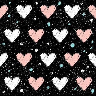 ハートのシームレスなパターンの背景。デザインtシャツ、ウェディングカード、ブライダル招待状、バレンタインデーのポスター、パンフレット、ノートブック、アルバム、スクラップブックなどに手作りのピンクと白のハートを落書き