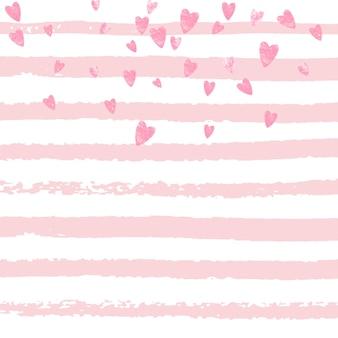 Heart sequins. glittery concept. feminine painting. pink festive element. new year stardust. golden dream flyer. rose handdrawn starburst. stripe heart sequins