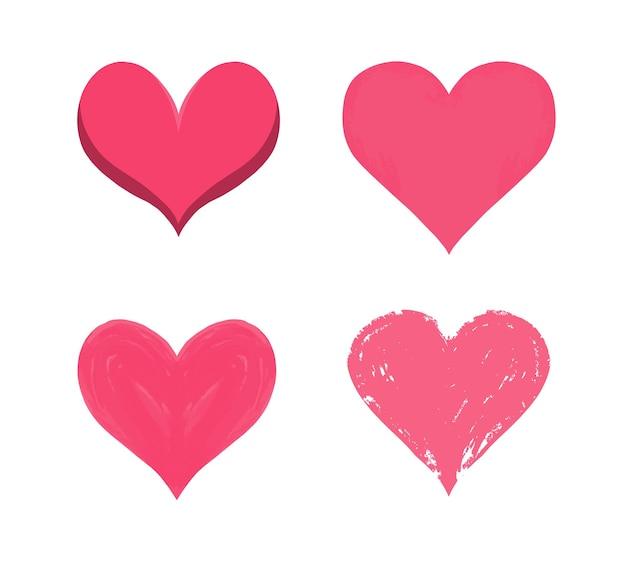 심장 세트 상한 마음과 붕대로 고정 된 균열