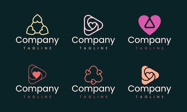 심장 모양 추상적인 로고 디자인 서식 파일입니다. 사랑과 감정을 나타내는 모든 비즈니스 브랜드에 적합한 그래픽 요소 집합