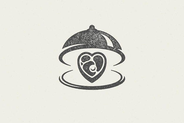 Heart shape beef steak silhouette served on tray with open cloche hand drawn stamp effect